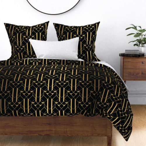 Black and Gold Vintage Art Deco Geometric Linear Repeat Pattern Duvet Cover