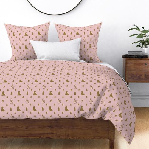 Louis Baby Luxury Iconic Monogram Pattern on Classic Pink with Tan Motifs Duvet Cover