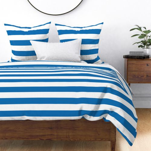 Biscayne Blue Horizontal Tent Stripes Florida Colors of the Sunshine State Duvet Cover