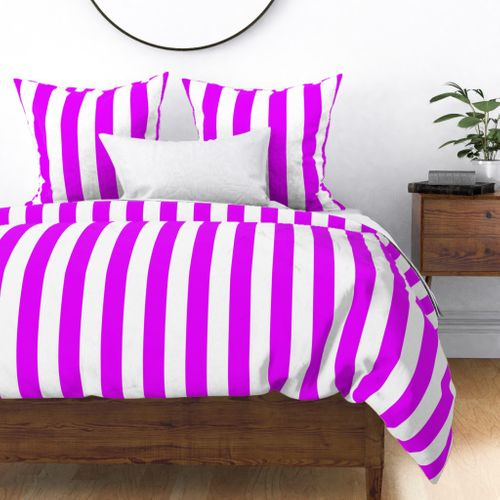 Orlando Orchid Pink Vertical Tent Stripes Florida Colors of the Sunshine State Duvet Cover