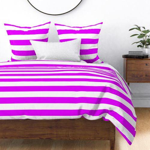 Orlando Orchid Pink Horizontal Tent Stripes Florida Colors of the Sunshine State Duvet Cover