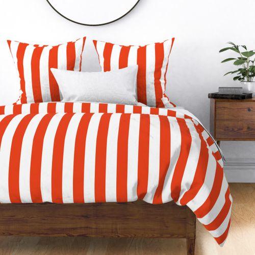 Citrus Orange Vertical Tent Stripes Florida Colors of the Sunshine State Duvet Cover