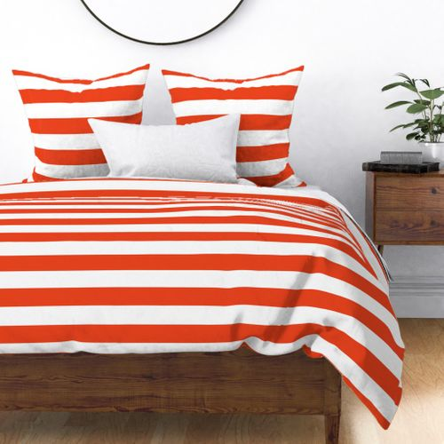 Citrus Orange Horizontal Tent Stripes Florida Colors of the Sunshine State Duvet Cover
