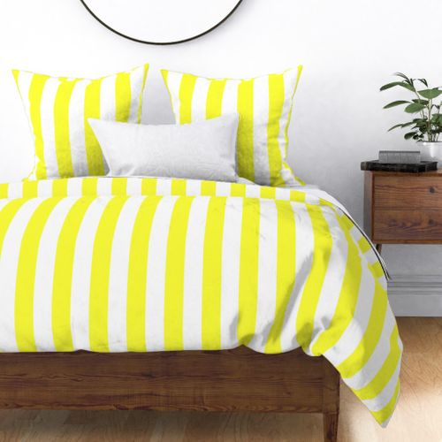 Florida Sunshine Yellow Vertical Tent Stripes Florida Colors of the Sunshine State Duvet Cover