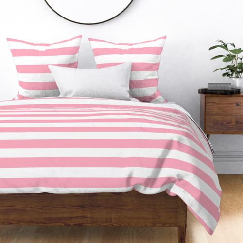 Palm Beach Pink Horizontal Tent Stripes Florida Colors of the Sunshine State Duvet Cover