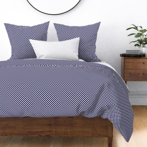 Navy Blue and Cream Checkerboard Squares Duvet Cover