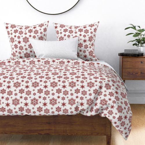 Large Dark Christmas Candy Apple Red Snowflakes on White Duvet Cover