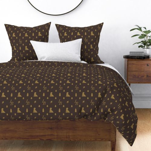 Louis Baby Luxury Iconic Monogram Pattern on Classic Brown with Tan Motifs Duvet Cover