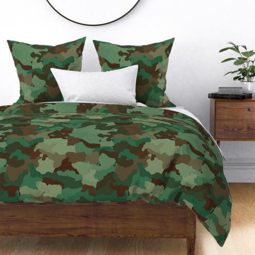 Military Army Green and Khaki Brown Camo Camouflage Print Duvet Cover