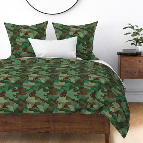 Small Military Army Green and Khaki Brown Camo Camouflage Print Duvet Cover