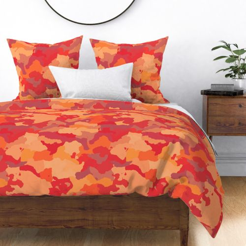 Bush Fire Flame Red Camo Camouflage Pattern Duvet Cover