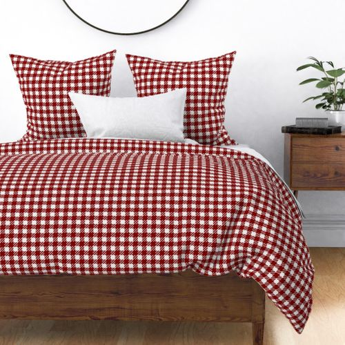 Large Dark Christmas Candy Apple Red Gingham Plaid Check Duvet Cover