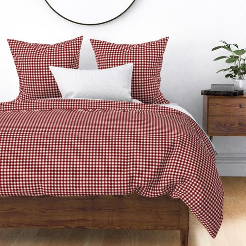 Dark Christmas Candy Apple Red Gingham Plaid Check Duvet Cover