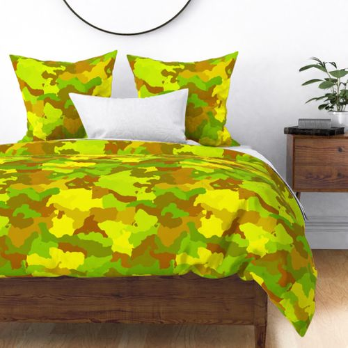 Yellow and Green Tropical Rainforest Camo Camouflage Duvet Cover