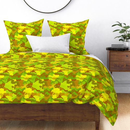 Small Yellow and Green Tropical Rainforest Camo Camouflage Duvet Cover