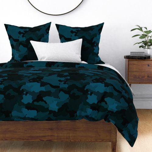 Navy Blue Naval Marine Camo Camouflage Pattern Duvet Cover