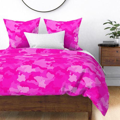 Hot Shocking Neon Pink Girlie Feminine Camo Camouflage Pattern Duvet Cover
