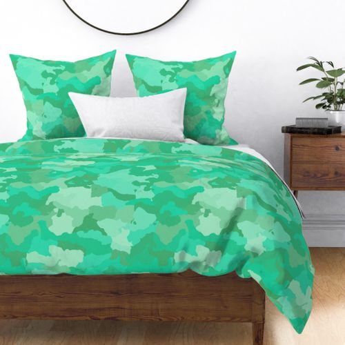 Sea Mint Camo Camouflage Pattern Duvet Cover