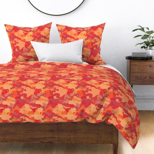 Small Bush Fire Flame Red Camo Camouflage Pattern Duvet Cover