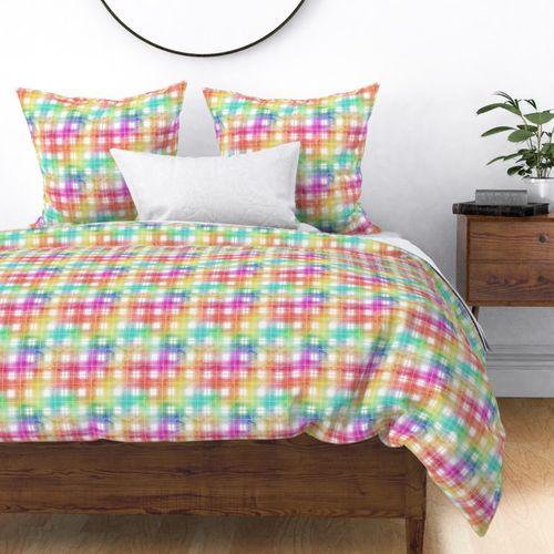 Rainbow Watercolor Tartan Plaid Check Duvet Cover