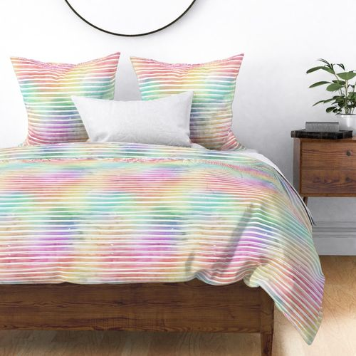 Rainbow Bright Pastel Watercolor Stripes and Lines Duvet Cover