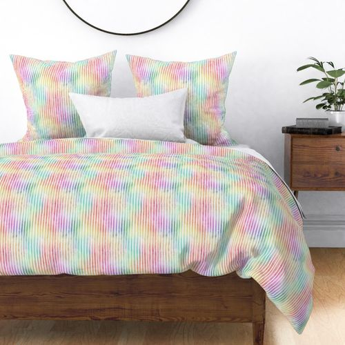 Bright Pastel Watercolor Vertical Stripes and Lines Duvet Cover