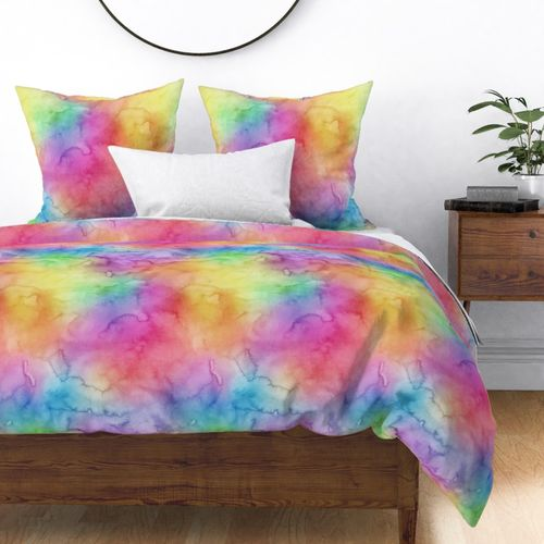 Bright Yellow Green Blue Pink Pastel Rainbow Watercolor Ombre Shades Duvet Cover