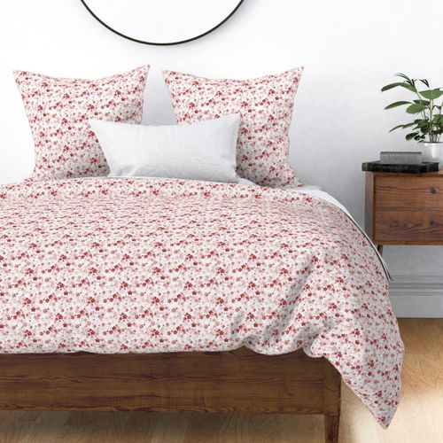 Bright Red Pastel Watercolor Cherry Blossom Flowers and Vines Duvet Cover