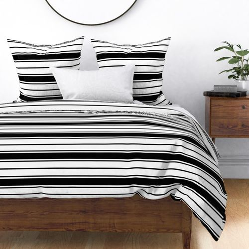 Black and White Horizontal French Stripe Duvet Cover