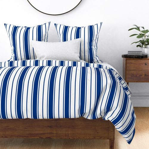 Deep Water Blue and White Vertical French Stripe Duvet Cover