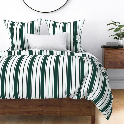 Cypress Green and White Vertical French Stripe Duvet Cover