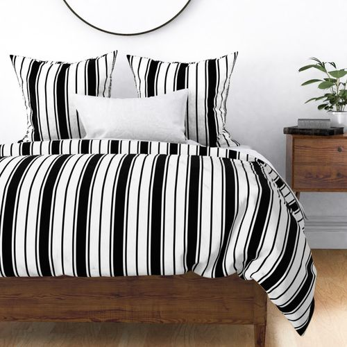 Black and White Vertical French Stripe Duvet Cover