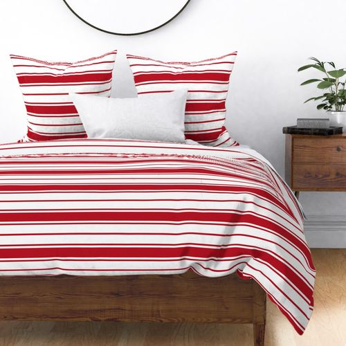 Cherry Orchard Red and White Horizontal French Stripe-orchard-red-and-white-vertical-french-stripe Duvet Cover