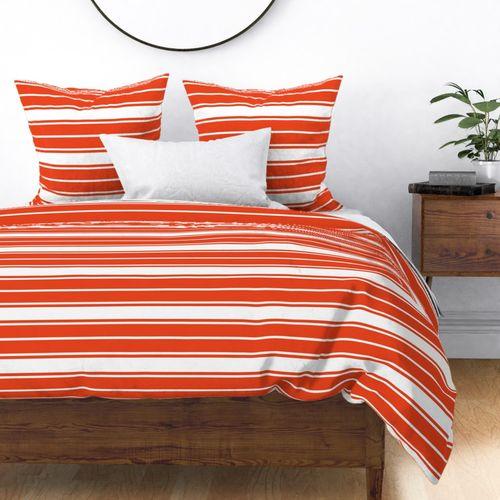 Bright Citrus Orange and White Horizontal French Stripe Duvet Cover