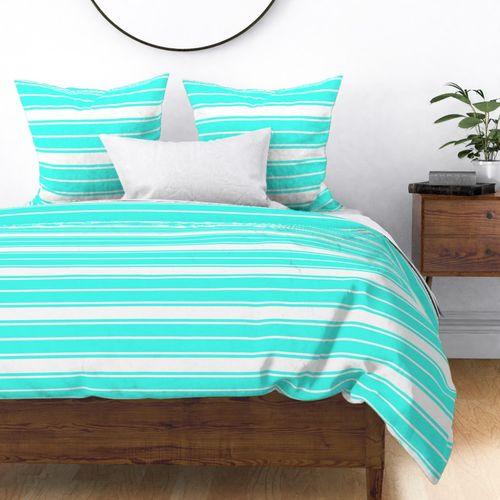 Art Deco Aqua and White Horizontal French Stripe Duvet Cover