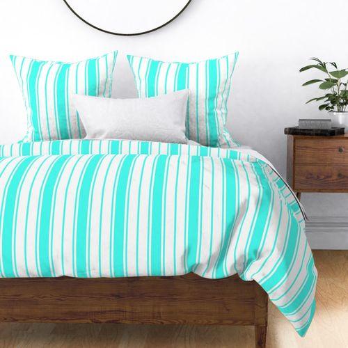 Art Deco Aqua and White Vertical French Stripe Duvet Cover