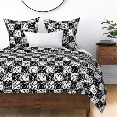 Small Black and White Chess Checker Board Pieces in Chess Square Pattern Duvet Cover