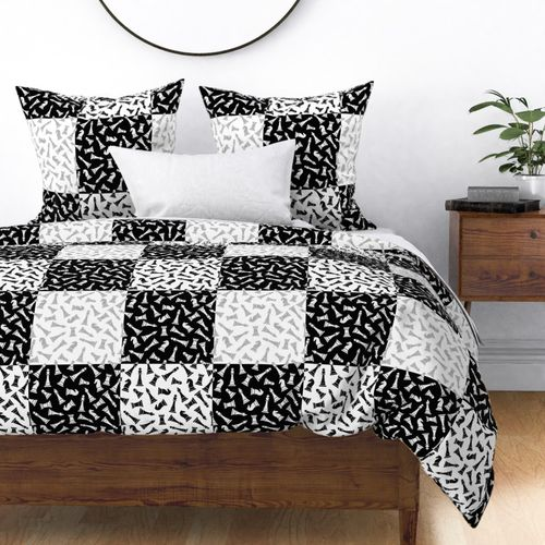 Large Black, Grey and White Gingham Chess Check Duvet Cover