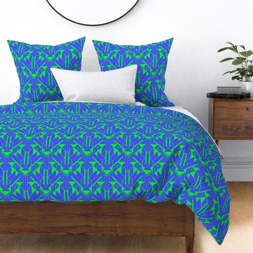 Electric Blue and Lime Green Large Neon Art Deco Geometric Triangle Pattern Duvet Cover