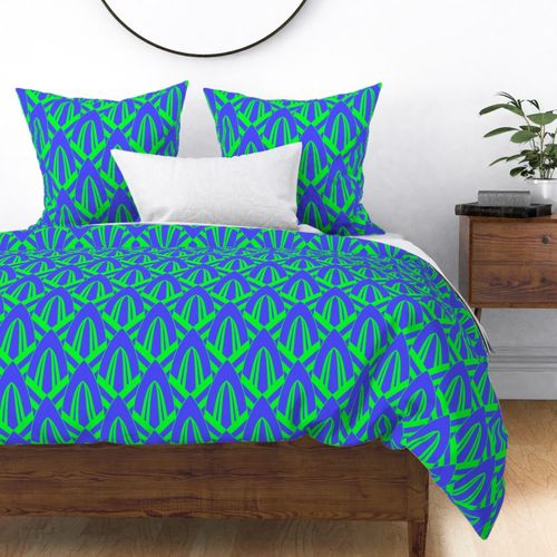Electric Blue and Lime Green Large Retro Vintage Art Deco Geometric Cross-Hatched Cone Pattern Duvet Cover