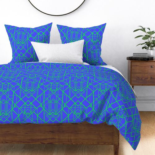 Electric Blue and Lime Green  Large Vintage Art Deco Geometric Linear Repeat Pattern Duvet Cover