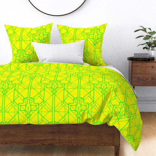Neon Yellow and Lime Green Large Neon Art Deco Geometric Triangle Pattern Duvet Cover