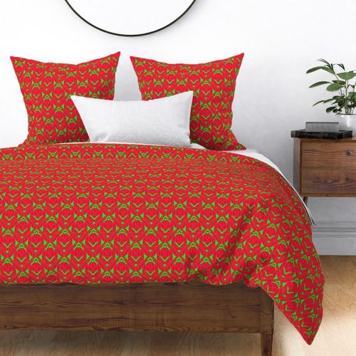 Small Neon Fire Red and Lime Green Large Neon Art Deco Geometric Triangle Pattern Duvet Cover