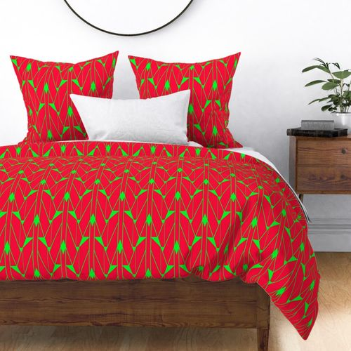 Large Neon Fire Red and Lime Green Large Neon Art Deco Geometric Triangle Pattern Duvet Cover