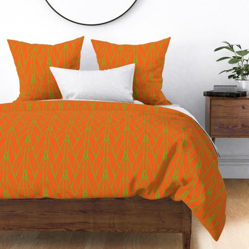 Neon Attack Orange and Lime Green Large Neon Art Deco Geometric Triangle Pattern Duvet Cover