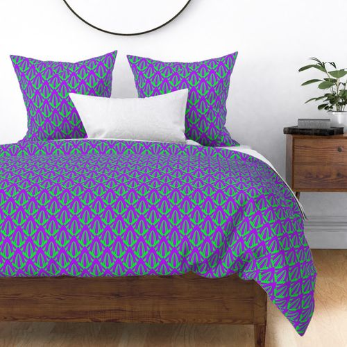 Neon Ultraviolet Purple and Lime Green Small Neon Art Deco Geometric Triangle Pattern Duvet Cover