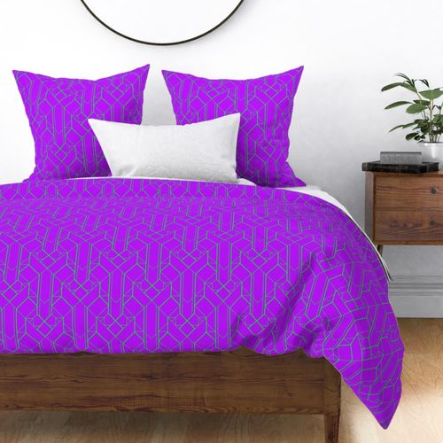 Neon Ultraviolet Purple and Lime Green Large Neon Art Deco Geometric Triangle Pattern Duvet Cover
