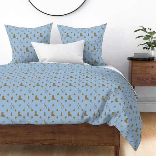 Louis Baby Luxury Iconic Monogram Pattern on Classic Blue with Tan Motifs Duvet Cover
