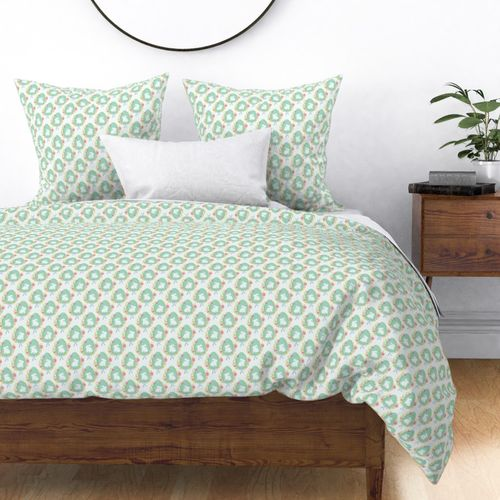 Pastel Mint Easter Bunny Eggs with Spring Flowers Duvet Cover