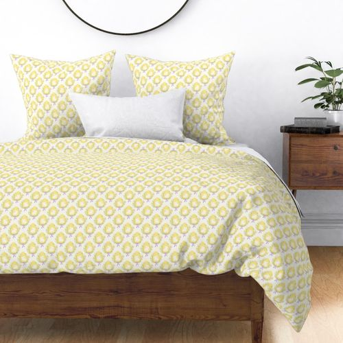 Pastel Yellow Easter Bunny Eggs with Spring Flowers Duvet Cover